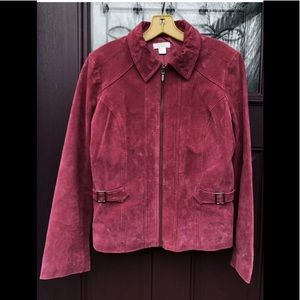 Leather Suede Full ZIP Jacket Coat Burgundy Wine
